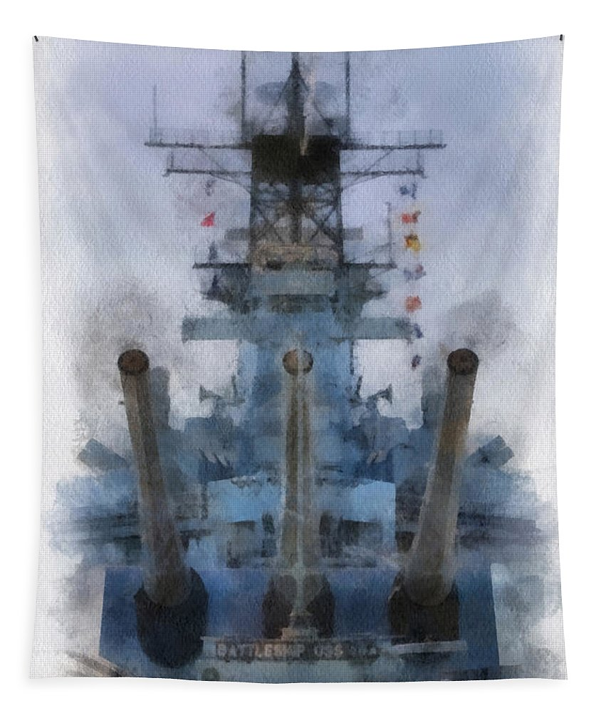 Uss Iowa Tapestry featuring the photograph Aft Turret 3 Uss Iowa Battleship Photoart 01 by Thomas Woolworth