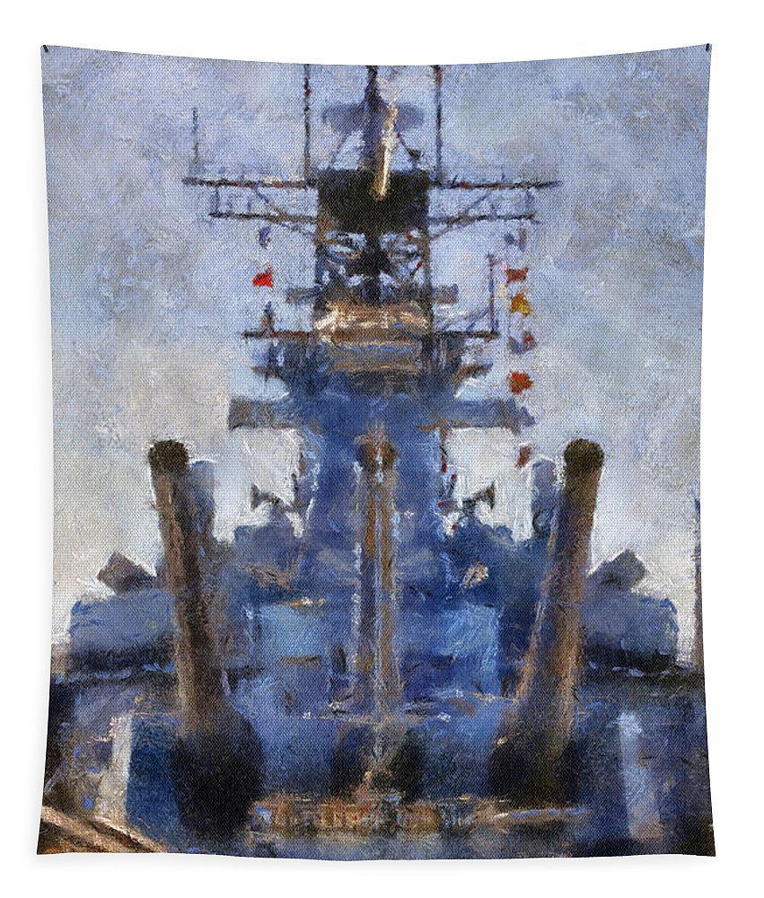 Uss Iowa Tapestry featuring the photograph Aft Turret 3 Uss Iowa Battleship Photoart 02 by Thomas Woolworth