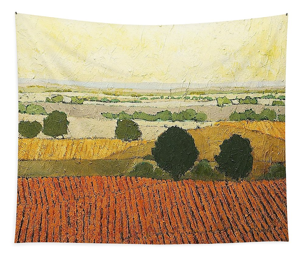 Landscape Tapestry featuring the painting After Harvest by Allan P Friedlander