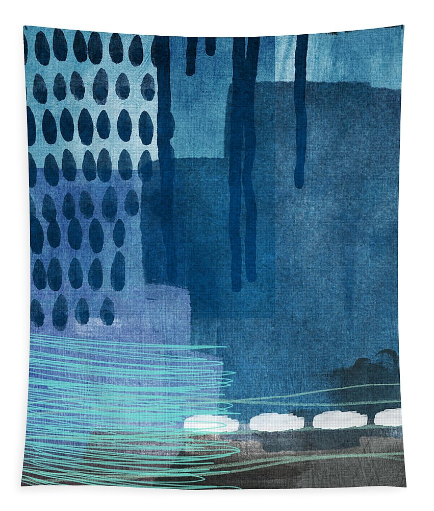 Blue Tapestry featuring the painting After Rain- Contemporary Abstract Painting by Linda Woods