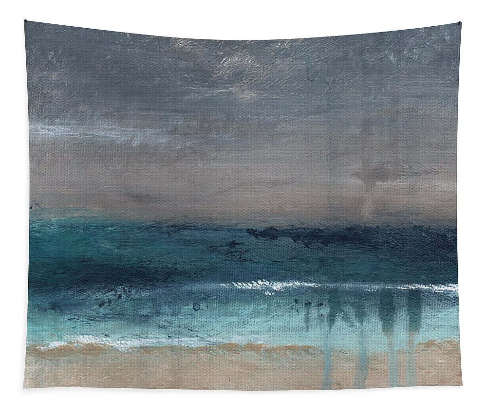 Abstract Landscape Tapestry featuring the painting After The Storm- Abstract Beach Landscape by Linda Woods