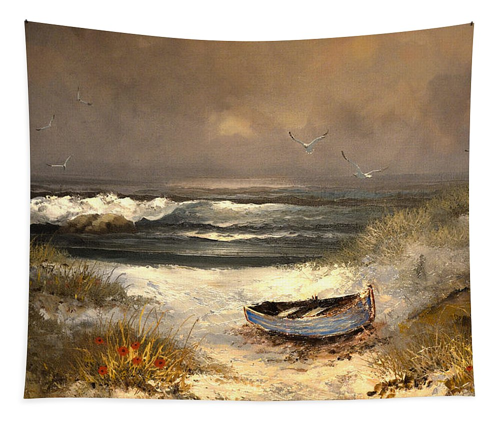 Seascape Tapestry featuring the painting After The Storm Passed by Sandi OReilly