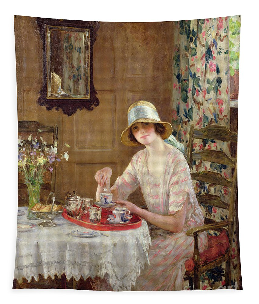 Woman Tapestry featuring the painting Afternoon Tea by William Henry Margetson