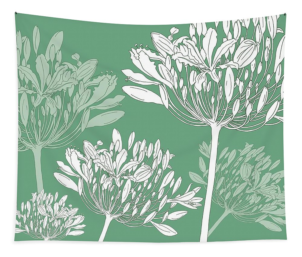 Agapanthus Tapestry featuring the painting Agapanthus breeze by Sarah Hough