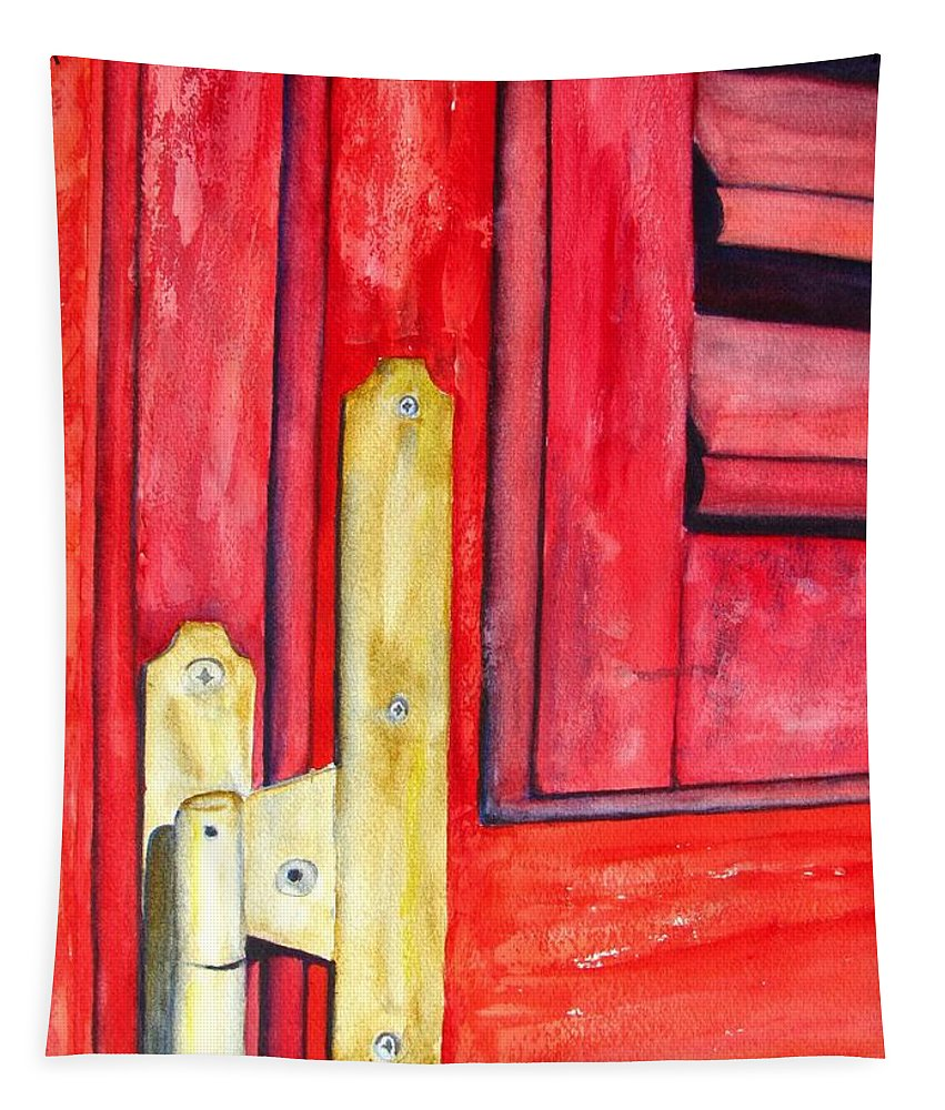 Window Shutter Tapestry featuring the painting Aged Window Shutter Hinge by Carlin Blahnik CarlinArtWatercolor
