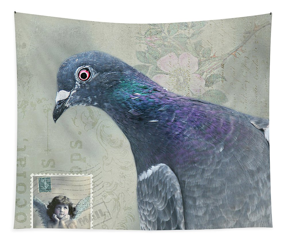 Pigeon Tapestry featuring the photograph Air Mail by Sher Falls