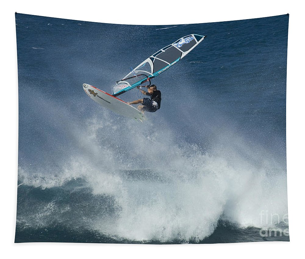 Surf Tapestry featuring the photograph Airborn In Hawaii by Bob Christopher