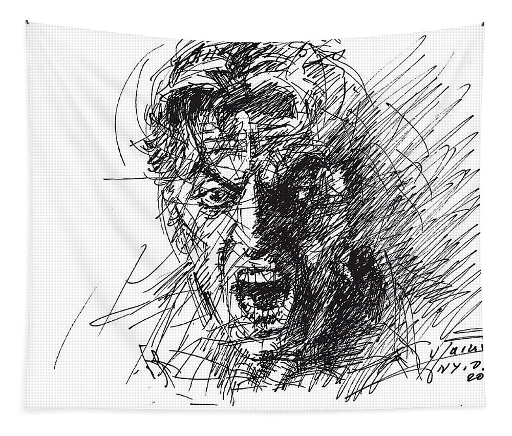 Al Pacino Tapestry featuring the drawing Al Pacino by Ylli Haruni