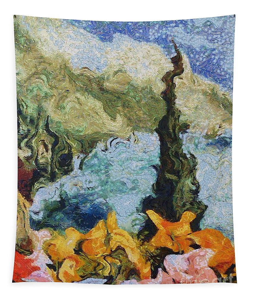 Landscapes Tapestry featuring the painting Alan Lakin's Theme by Dragica Micki Fortuna