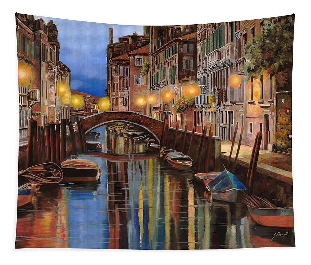 Venice Tapestry featuring the painting alba a Venezia by Guido Borelli