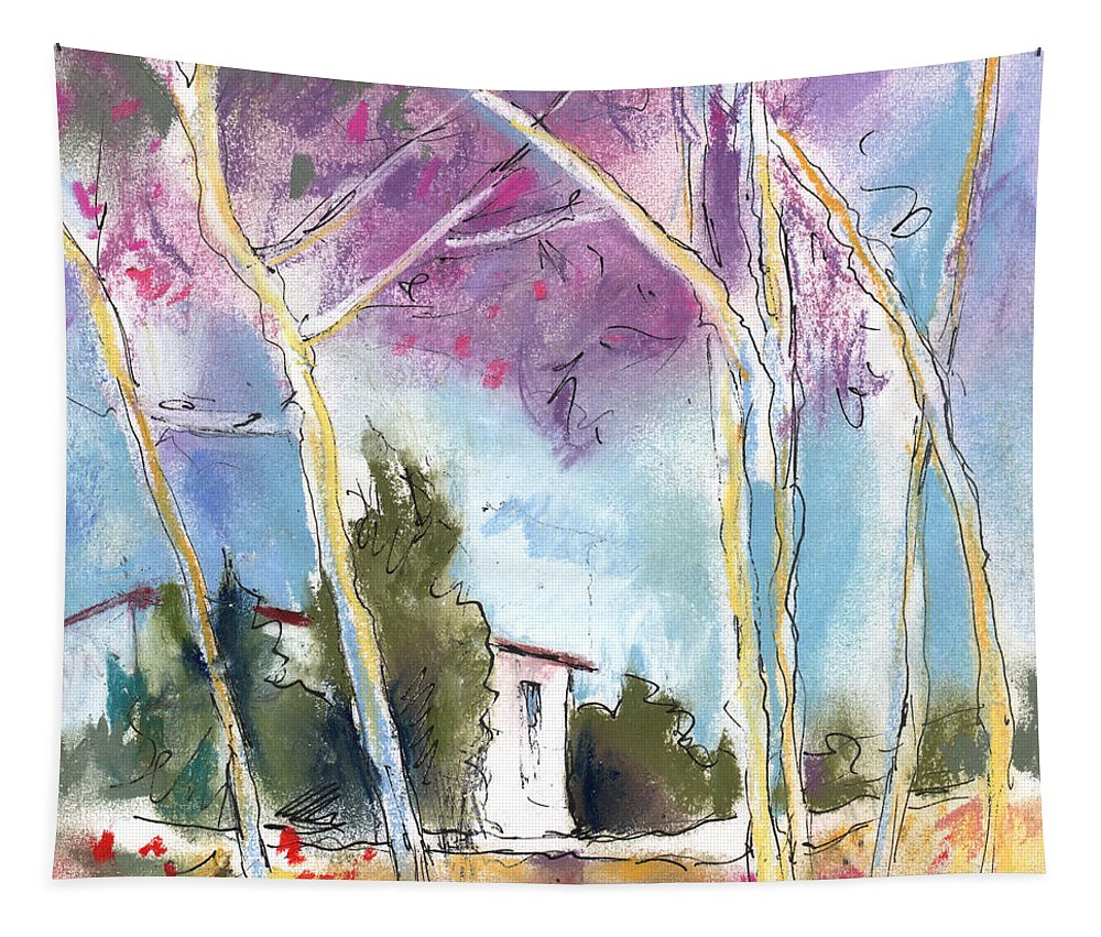 Travel Tapestry featuring the painting Albatana 02 by Miki De Goodaboom