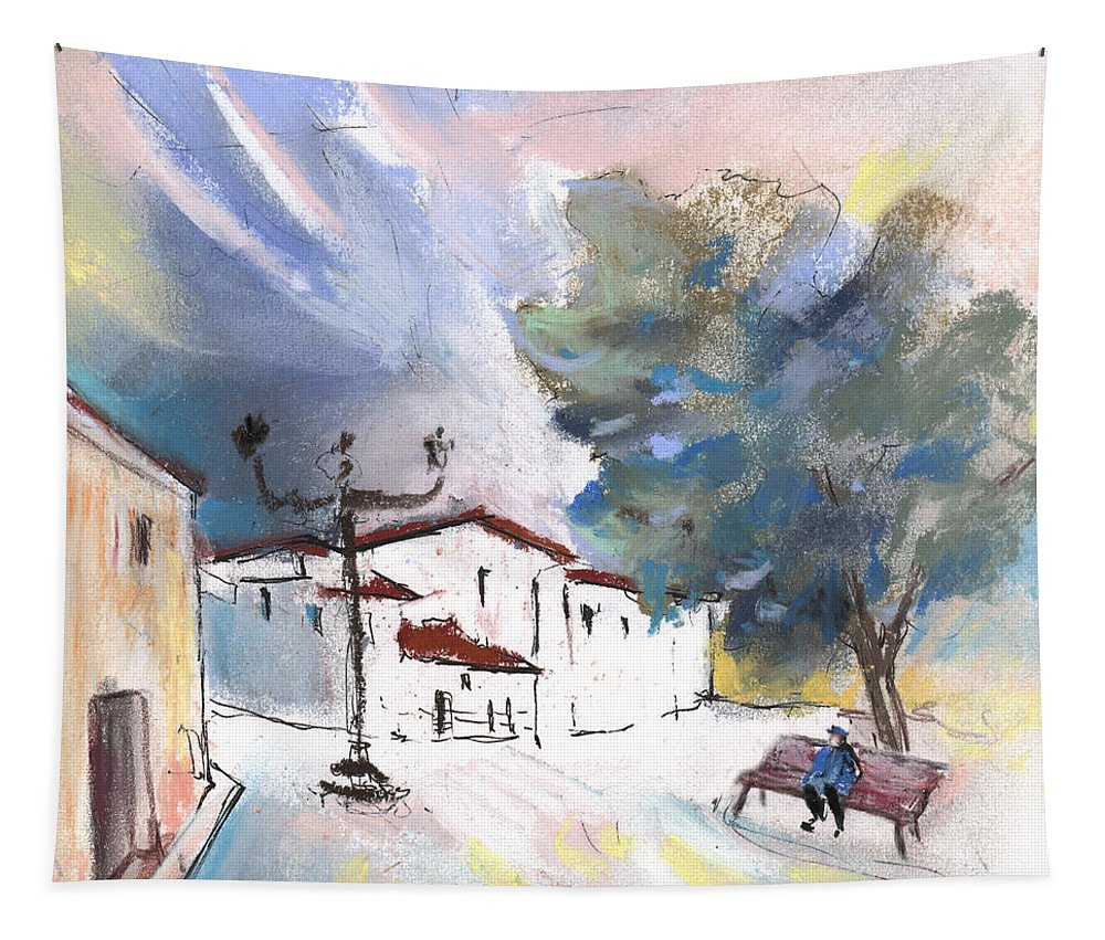 Travel Tapestry featuring the painting Albatana 03 by Miki De Goodaboom