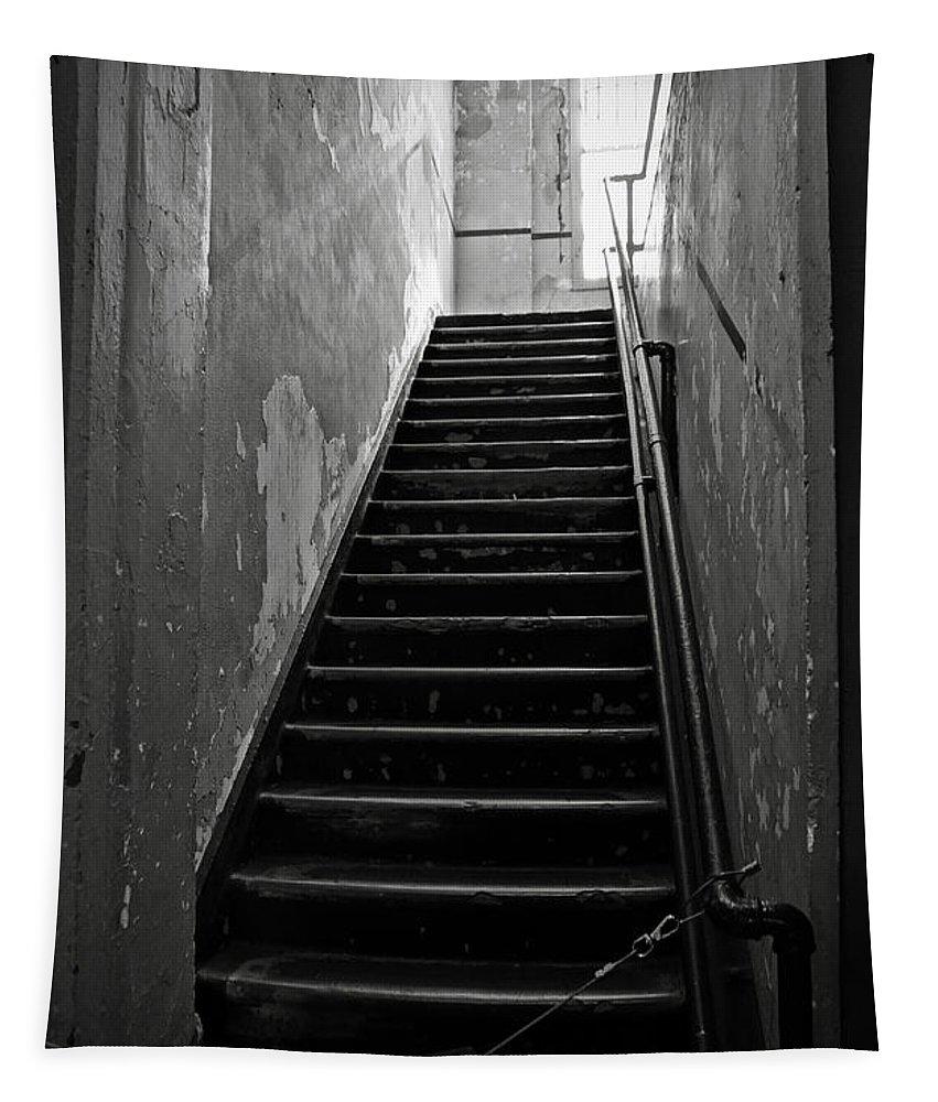 Alcatraz Hospital Tapestry featuring the photograph Alcatraz Hospital Stairs by RicardMN Photography