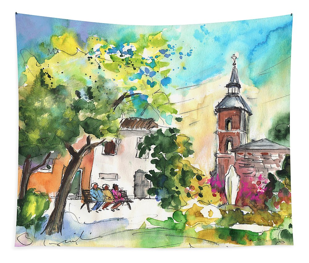 Travel Tapestry featuring the painting Alcazar De San Juan 03 by Miki De Goodaboom