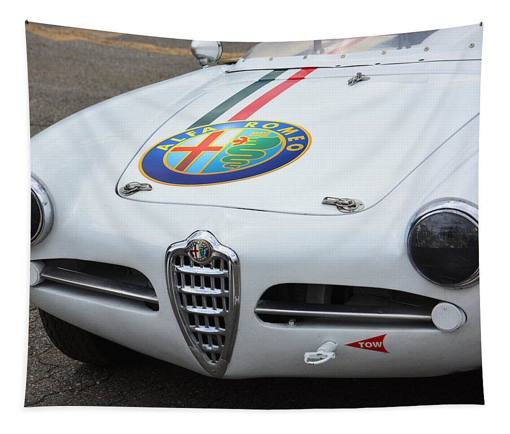 Milano Tapestry featuring the photograph Alfa Romeo Front End by Mike Martin