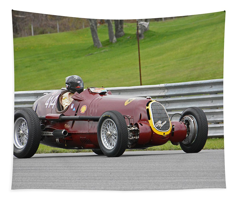 Vintage Tapestry featuring the photograph Alfa Romeo On Sam Posey Straight by Mike Martin