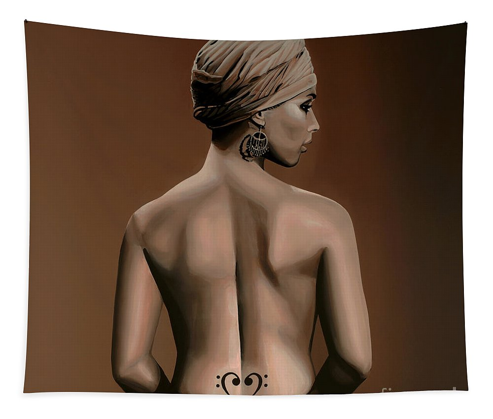 Alicia Keys Tapestry featuring the painting Alicia Keys by Paul Meijering