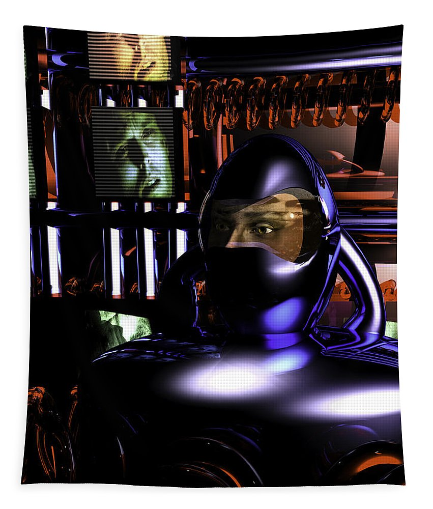 Alien Abduction Tapestry featuring the digital art Alien Mind Control by Bob Orsillo