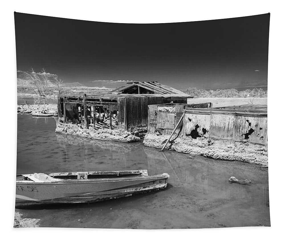 Abandoned Tapestry featuring the photograph All Aboard Black And White by Scott Campbell