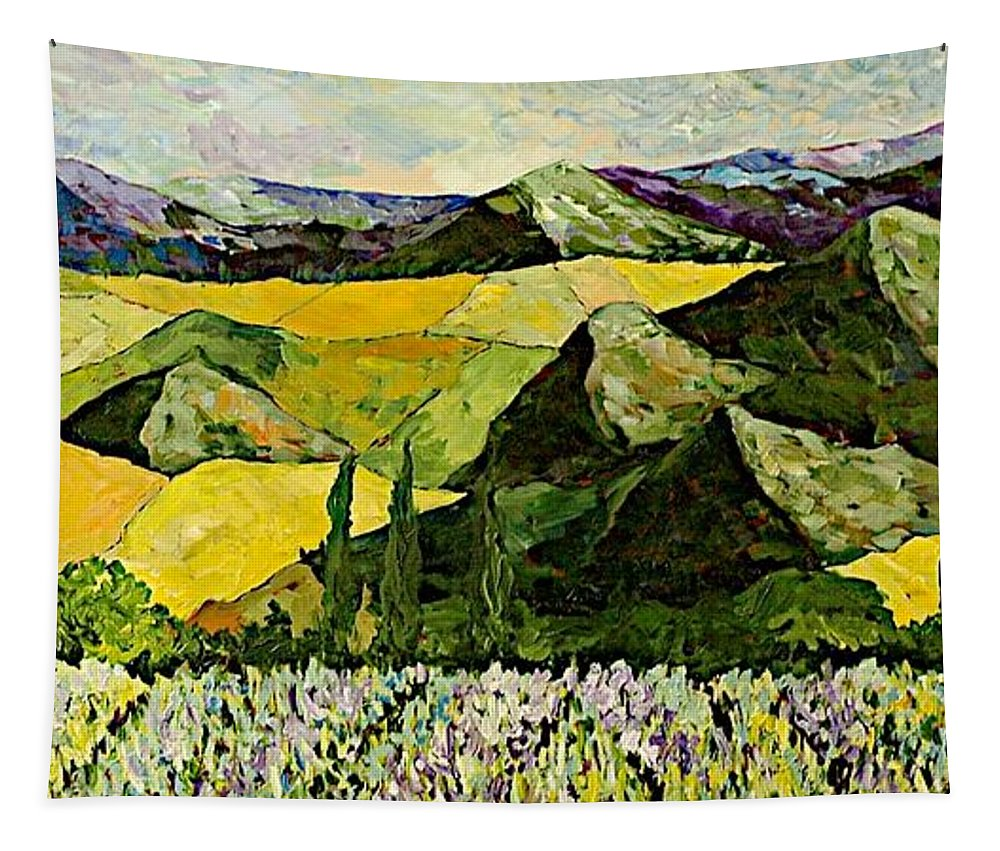 Landscape Tapestry featuring the painting All Day Long by Allan P Friedlander