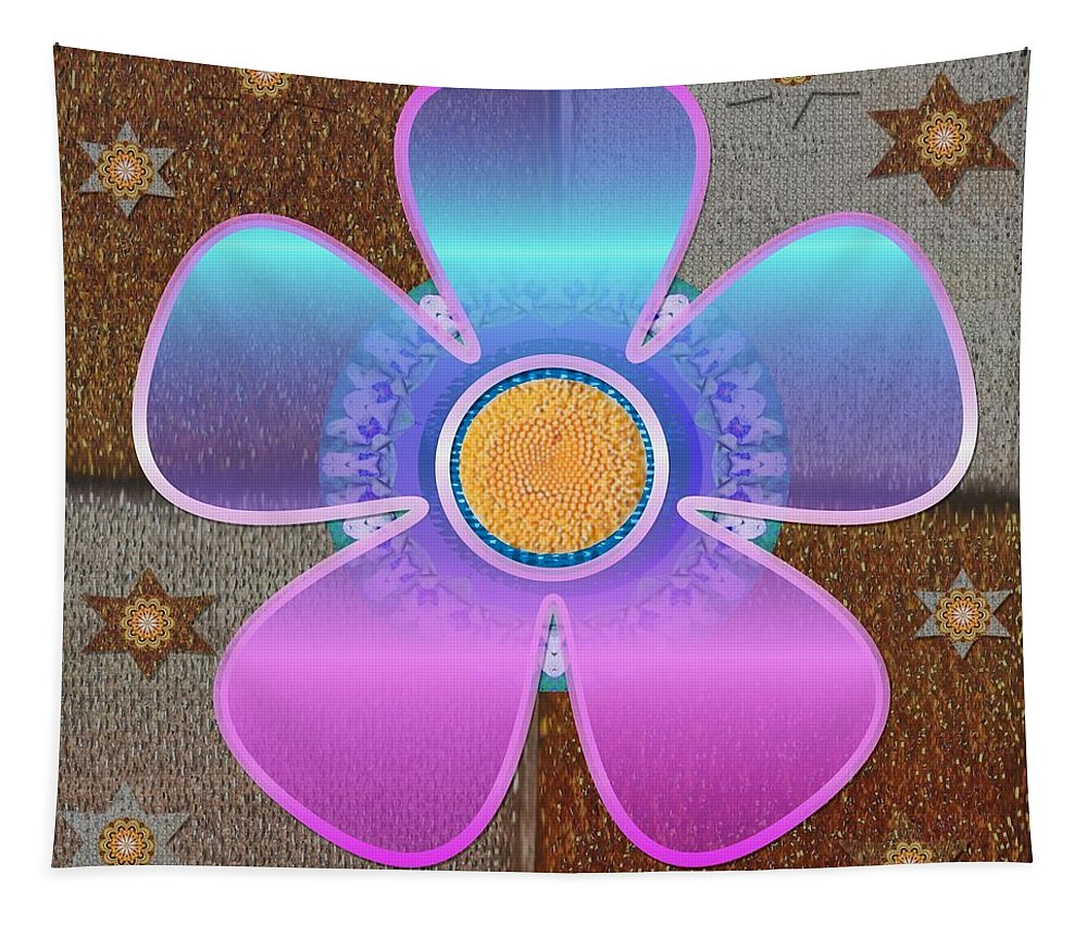 Floral Tapestry featuring the mixed media All In With Colors by Pepita Selles
