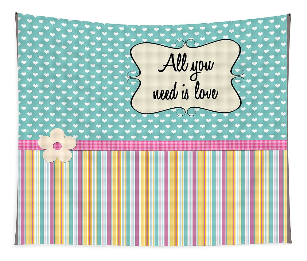 Heart Tapestry featuring the photograph All You Need Is Love In Teal by Nina Ficur Feenan