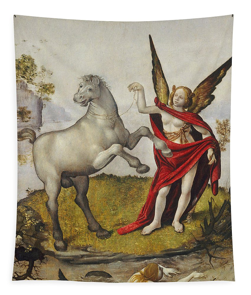 Mermaid; Horse; Winged; Female; Angel; Swimming; River; Wings; Fantasy; Mythology; Renaissance; Red Shawl; Rearing; White Tapestry featuring the painting Allegory by Piero di Cosimo