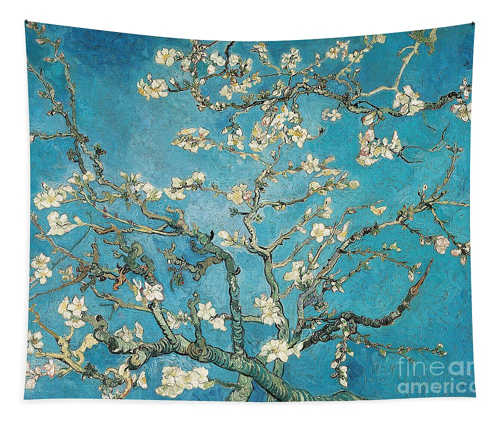 Van Tapestry featuring the painting Almond Branches In Bloom by Vincent van Gogh