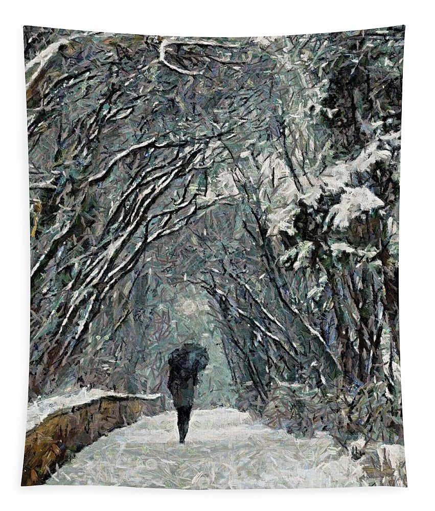 Winter Tapestry featuring the painting Alone In The Winter by Dragica Micki Fortuna