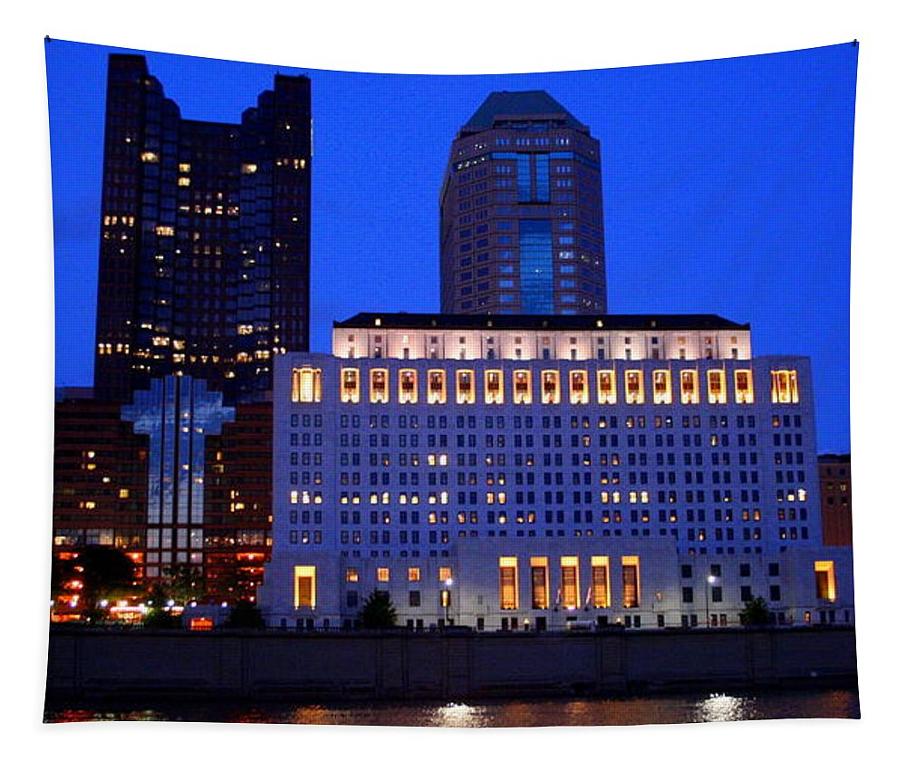 Scioto Tapestry featuring the photograph Along The Scioto At Night by Laurel Talabere
