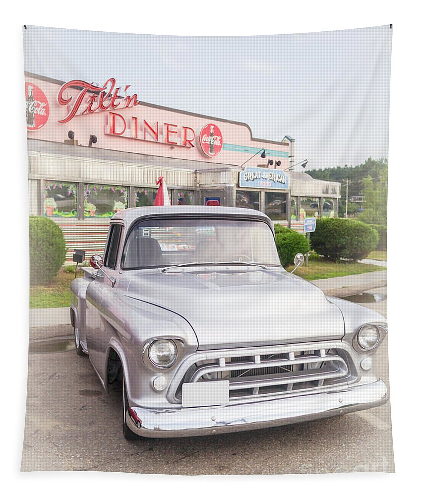 Pickup Truck Tapestry featuring the photograph American Classics Tilton Diner Classic Pickup Truck by Edward Fielding