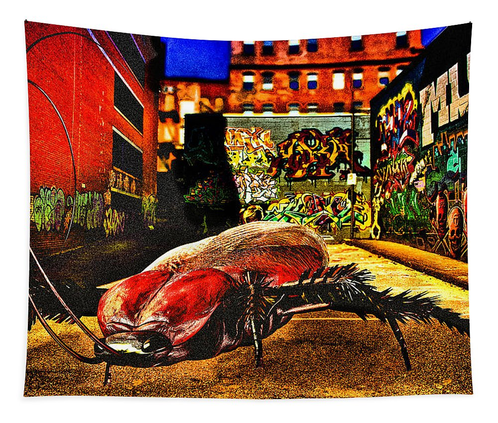 Graffiti Tapestry featuring the digital art American Cockroach by Bob Orsillo