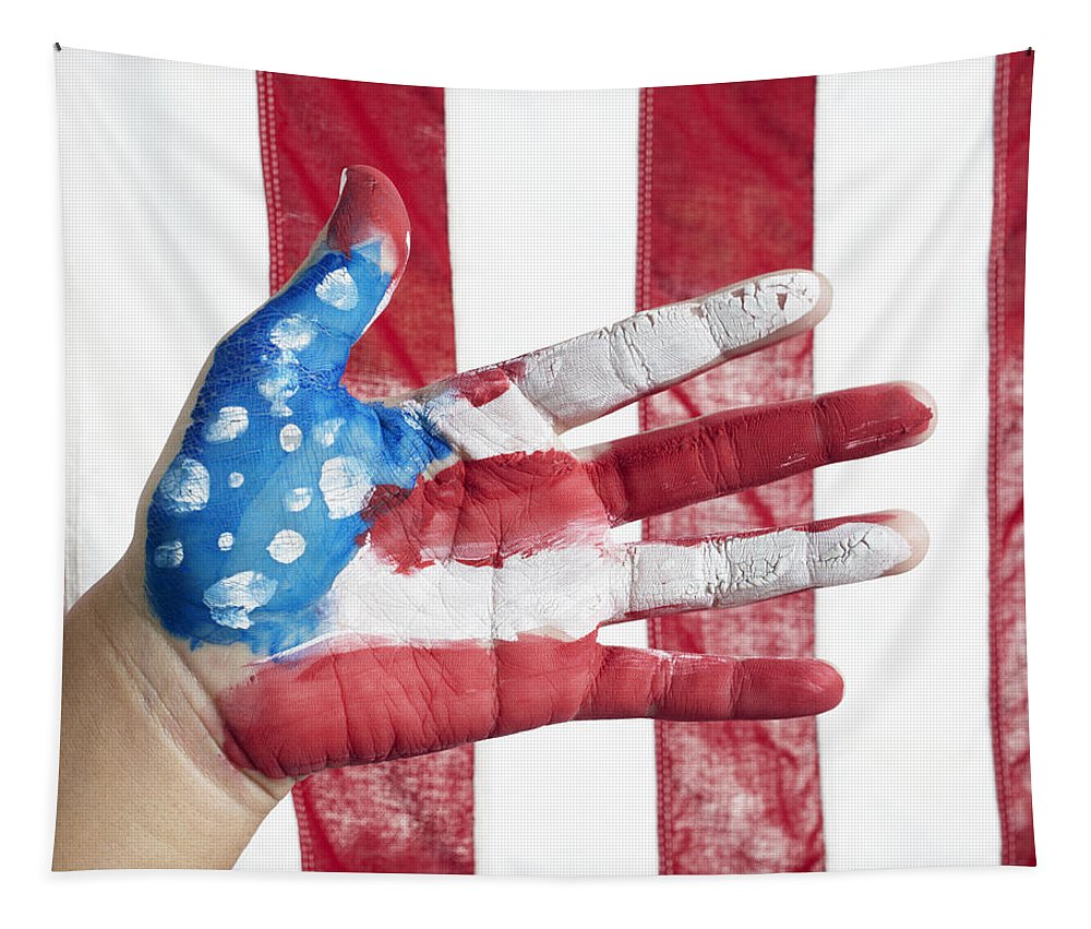 American Flag Tapestry featuring the photograph American Flag by Skip Nall