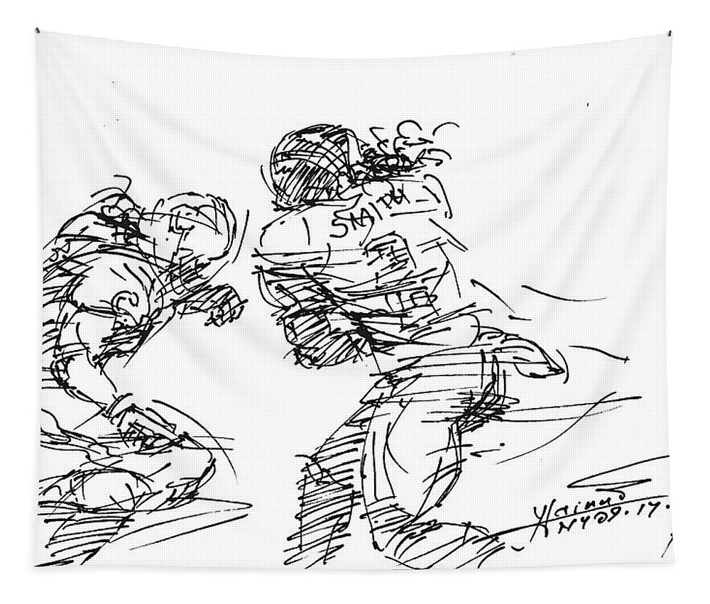 American Football Tapestry featuring the drawing American Football 1 by Ylli Haruni