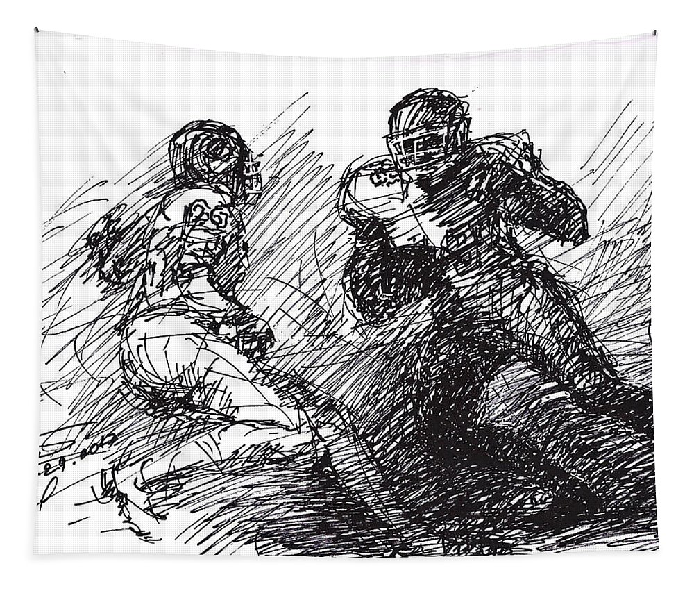 American Football Tapestry featuring the drawing Football by Ylli Haruni