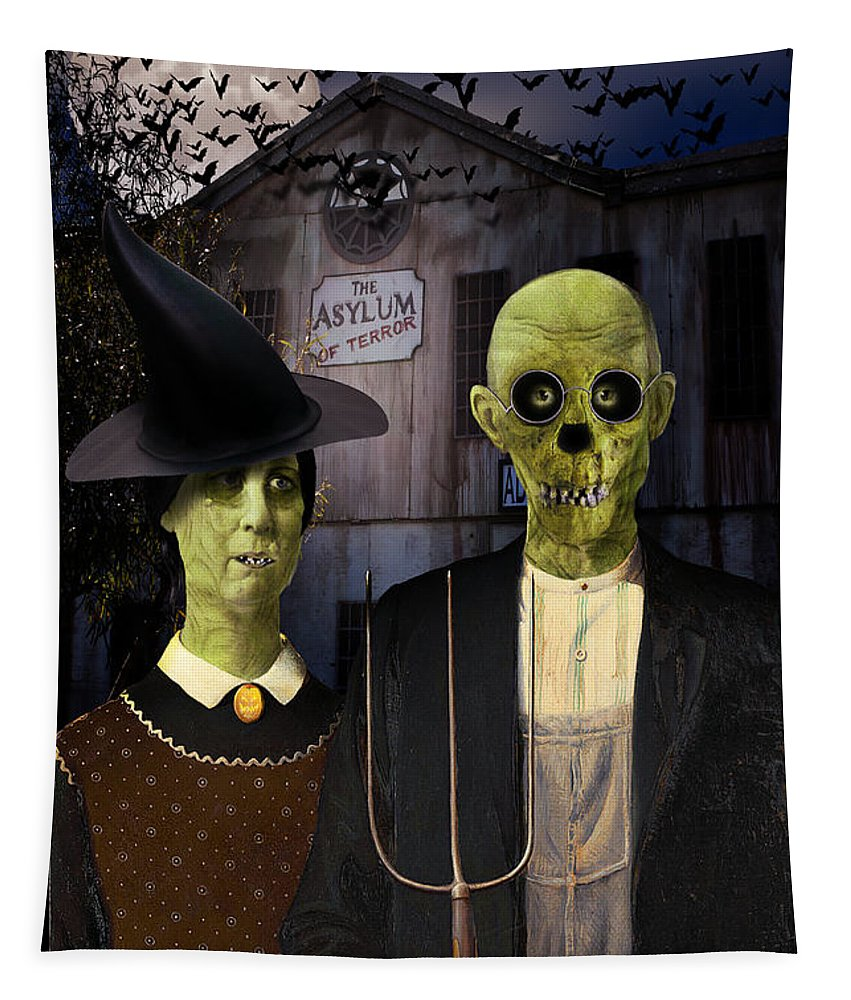 Tapestry featuring the digital art American Gothic Halloween by Gravityx9 Designs