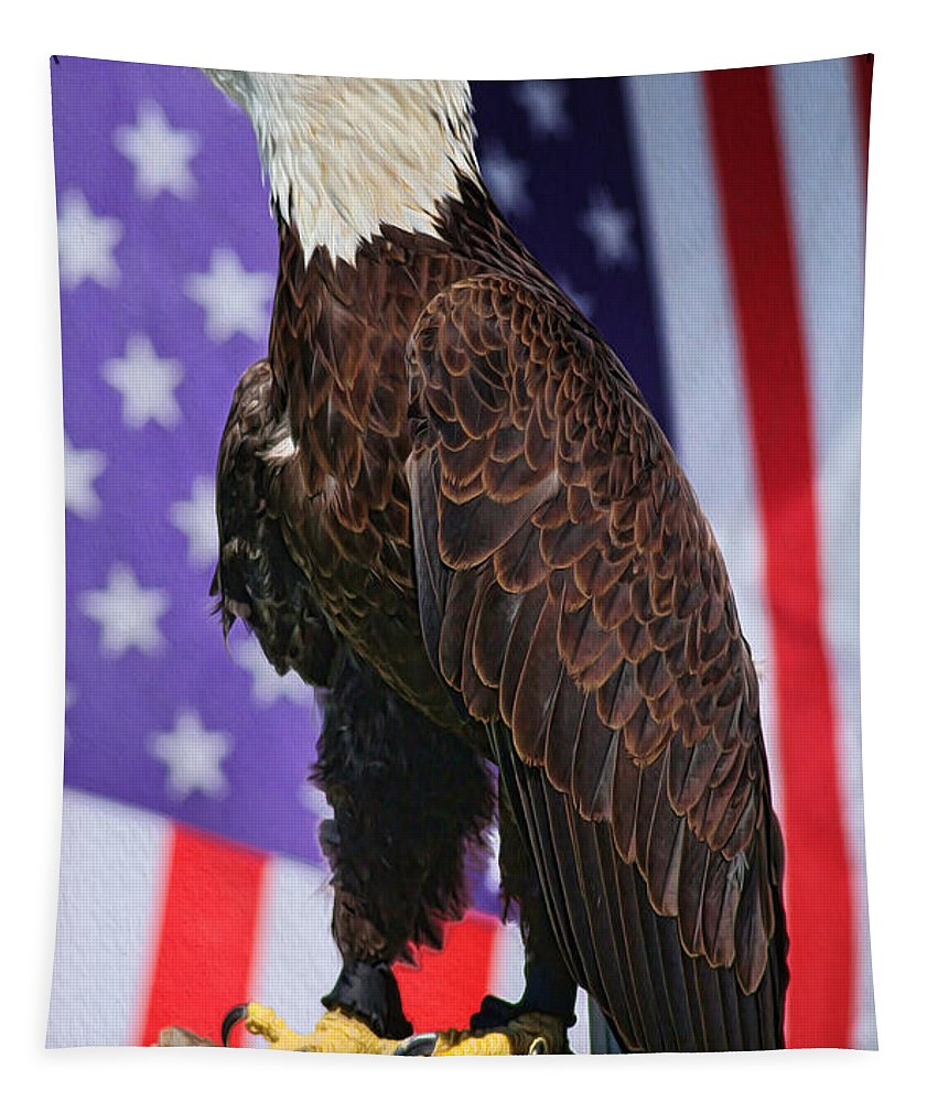 Eagle Tapestry featuring the photograph American Honor by Deborah Benoit