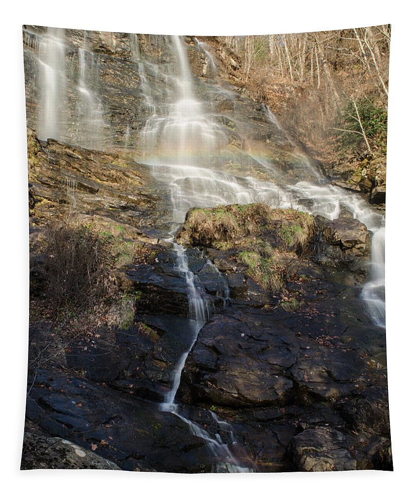 Water Tapestry featuring the photograph Amicalola Falls Rainbow by Donna Brown
