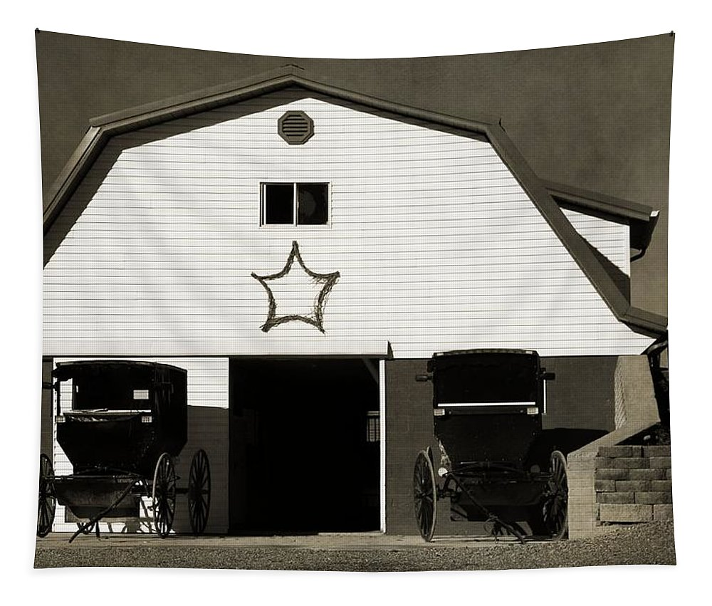 Black And White Amish Buggies And Barn Tapestry featuring the photograph Amish Barn And Buggies by Dan Sproul