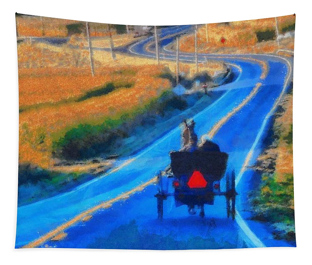 Amish Horse And Buggy In Autumn Tapestry featuring the painting Amish Horse And Buggy In Autumn by Dan Sproul