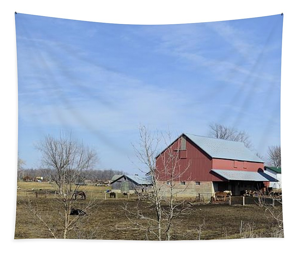 Rustic Tapestry featuring the photograph Amish Panorama by Bonfire Photography