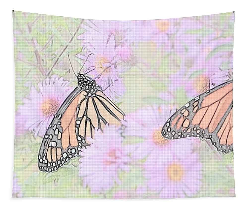 Butterflies Tapestry featuring the photograph Among The Flowers by Susan McMenamin