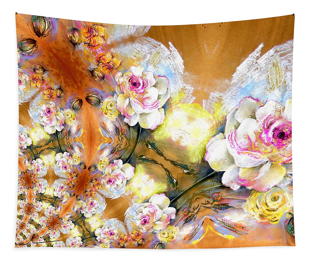 Flowers Tapestry featuring the painting Amour Infinity by Miki De Goodaboom