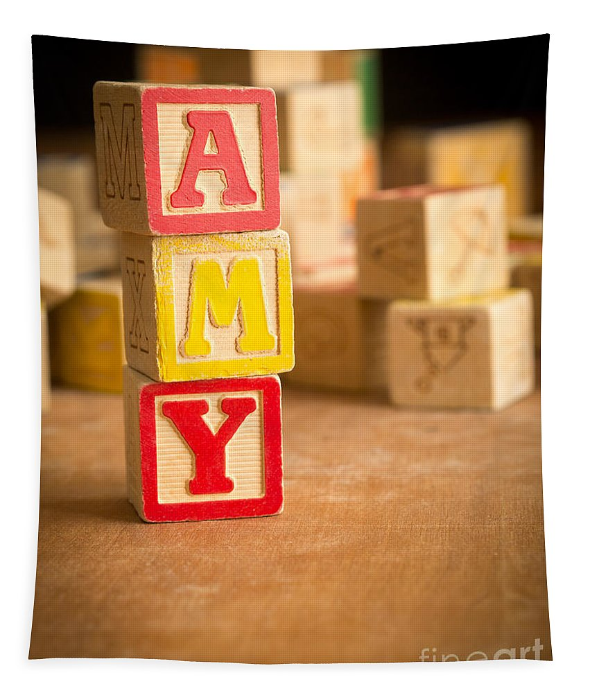Abcs Tapestry featuring the photograph Amy - Alphabet Blocks by Edward Fielding