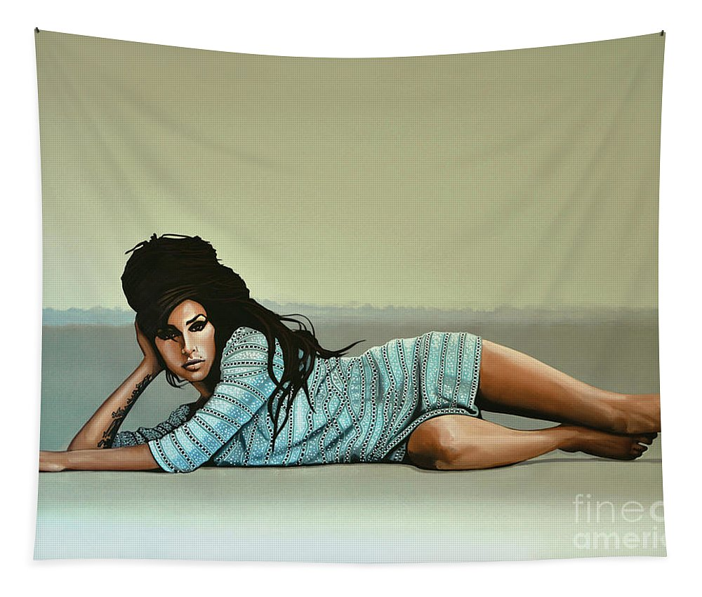 Amy Winehouse Tapestry featuring the painting Amy Winehouse 2 by Paul Meijering