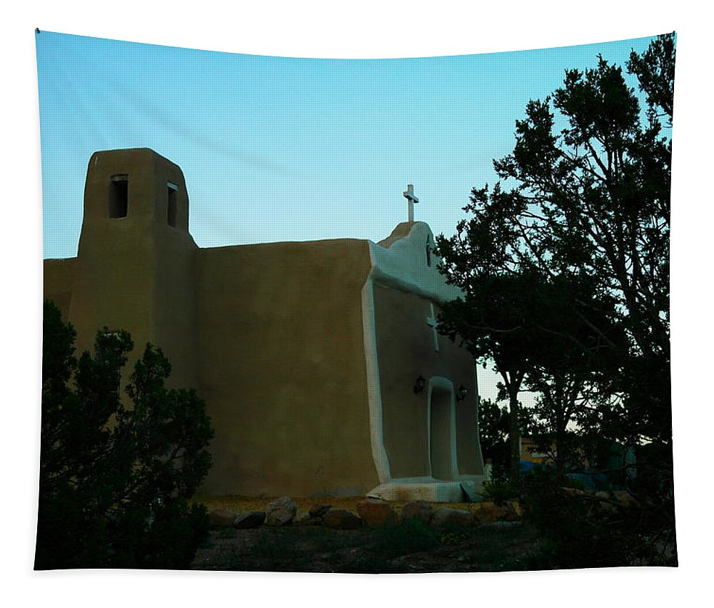 Buildings Tapestry featuring the photograph An Adobe Church In New Mexico by Jeff Swan