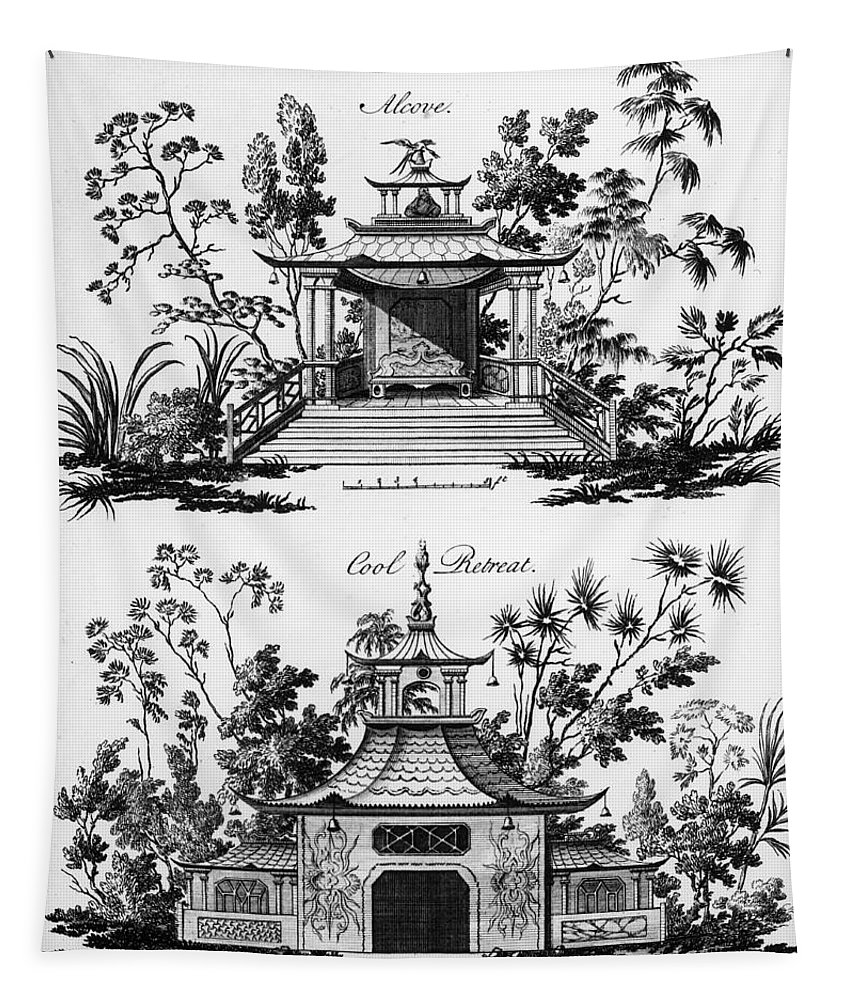 Garden Pavilion; Pagoda; Shelter; Arbour; Folly; Decorative; Chinois; Chinoiserie Tapestry featuring the drawing An Alcove And A Cool Retreat by Paul Decker