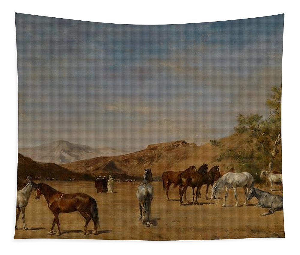 Arabian; Arabia; Middle East; Middle Eastern; Landscape; Desert; Horses; Horse; Mountains; Mountainous; Arid; Wilderness; Camp; Encampment; Travel; Travellers; Tent; Tents; Journey Tapestry featuring the painting An Arabian Camp by Eugene Fromentin