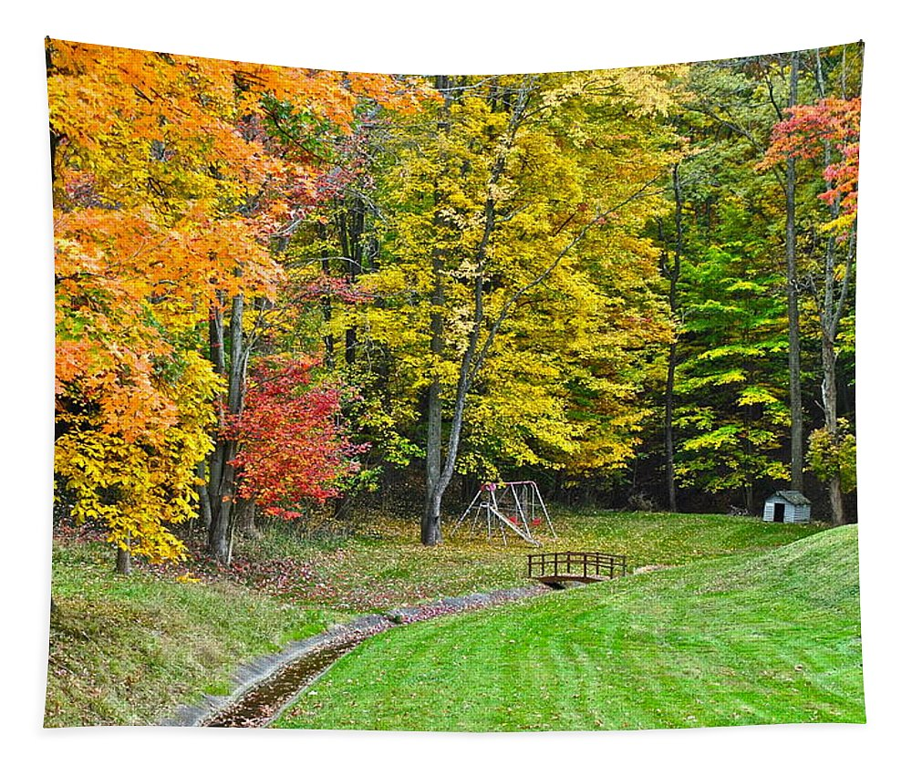 Childhood Tapestry featuring the photograph An Autumn Childhood by Frozen in Time Fine Art Photography