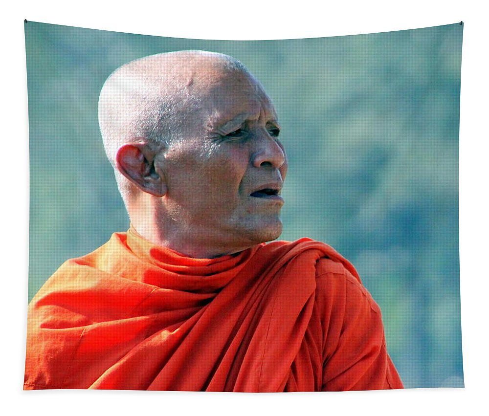 Monk Tapestry featuring the photograph An Elder Buddhist Monk At Angkor Wat by Laurel Talabere